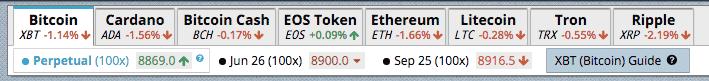 crypto selection bar bitmex screenshot