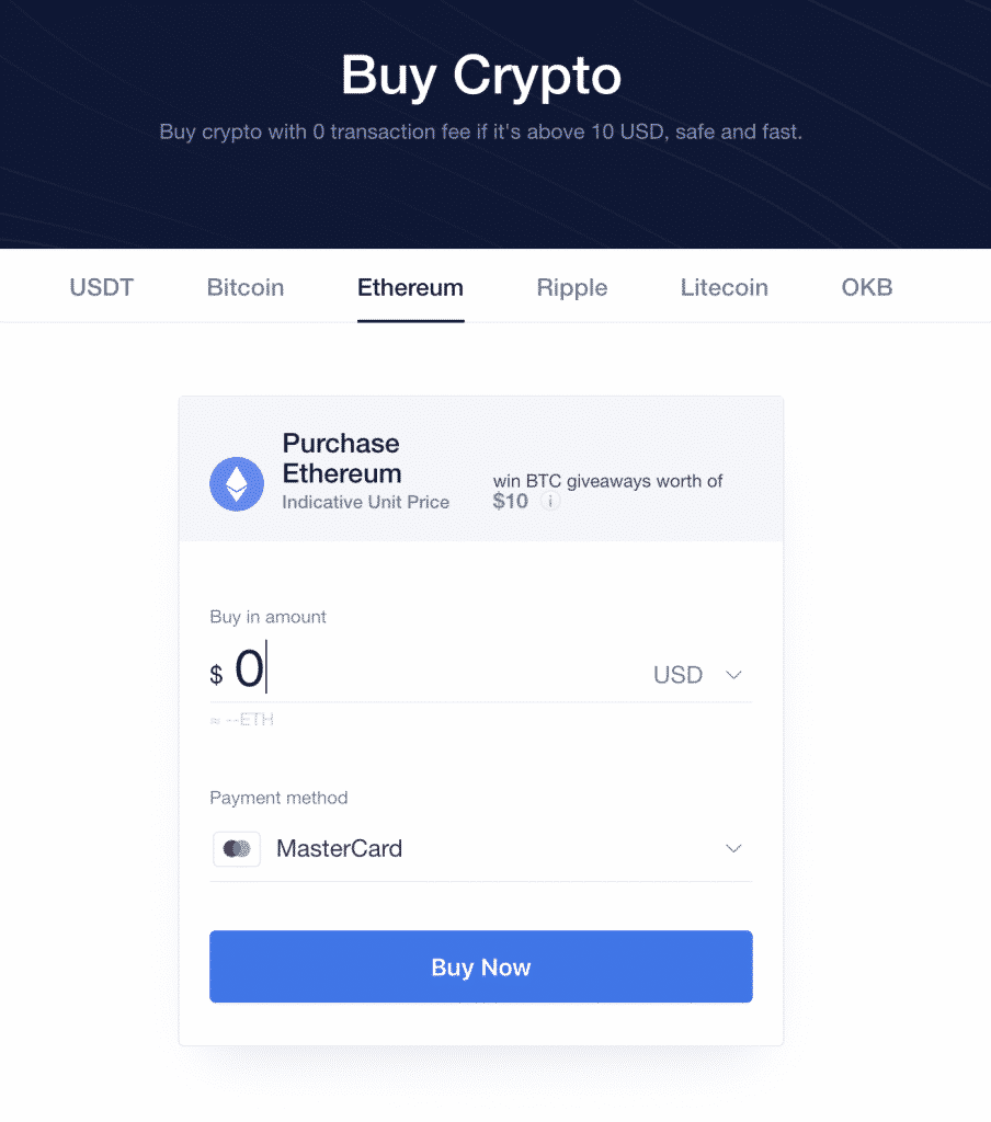 credit card payment option on okex