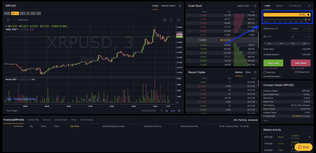 bybit crypto exchange leverage bar screenshot