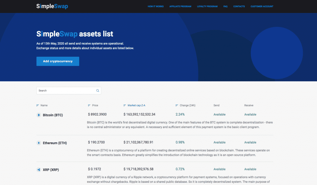 instant crypto exchange simpleswap coin list