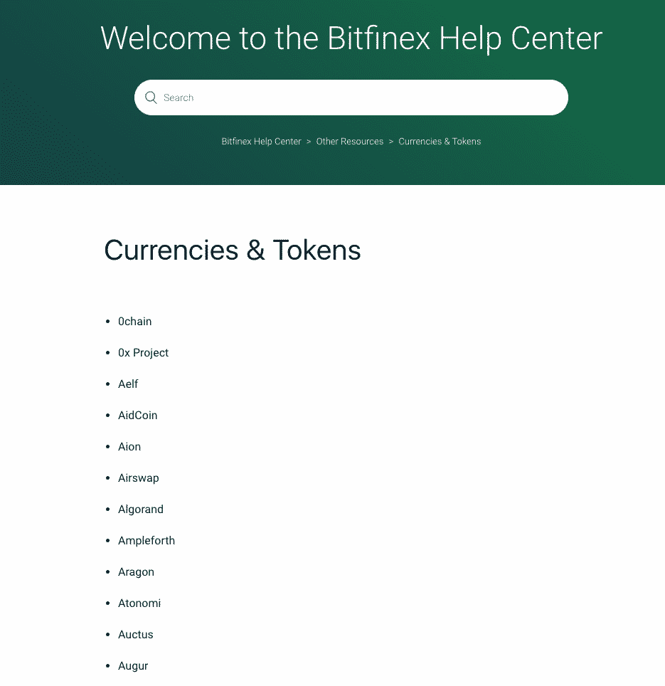 help center on bitfinex.