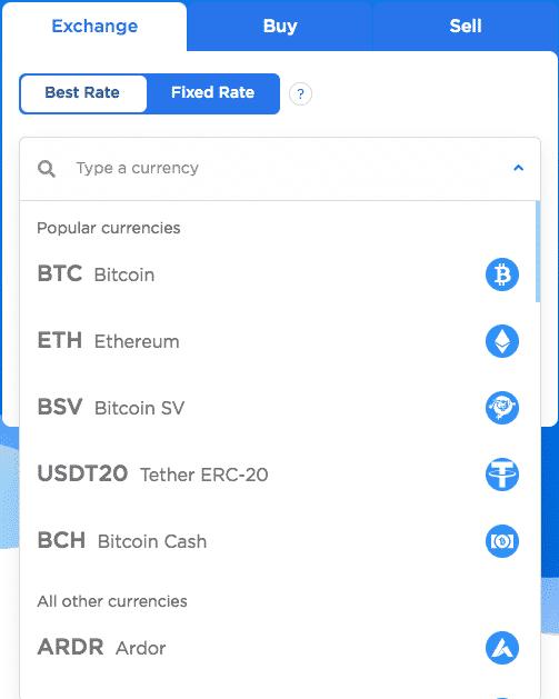 cryptocurrencies on changehero instant crypto exchange