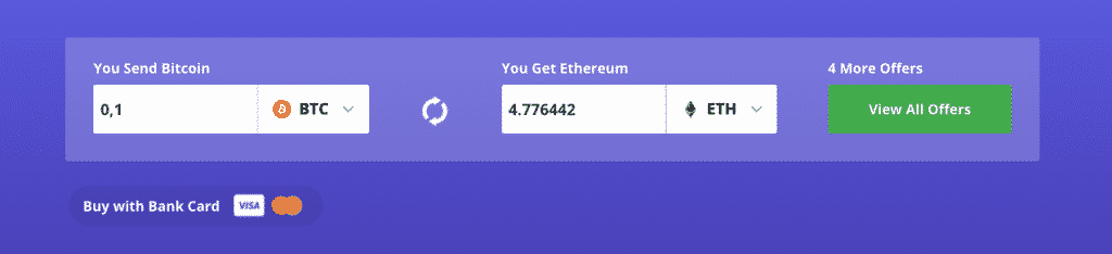 exchange interface on coinswitch