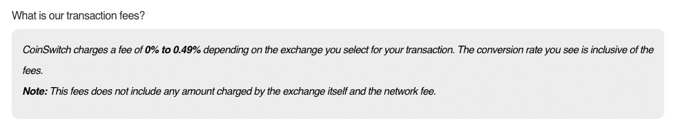 coinswitch trading fee