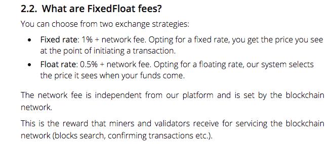 fixedfloat exchang fees