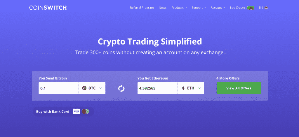 coinswitch instant crypto exchange