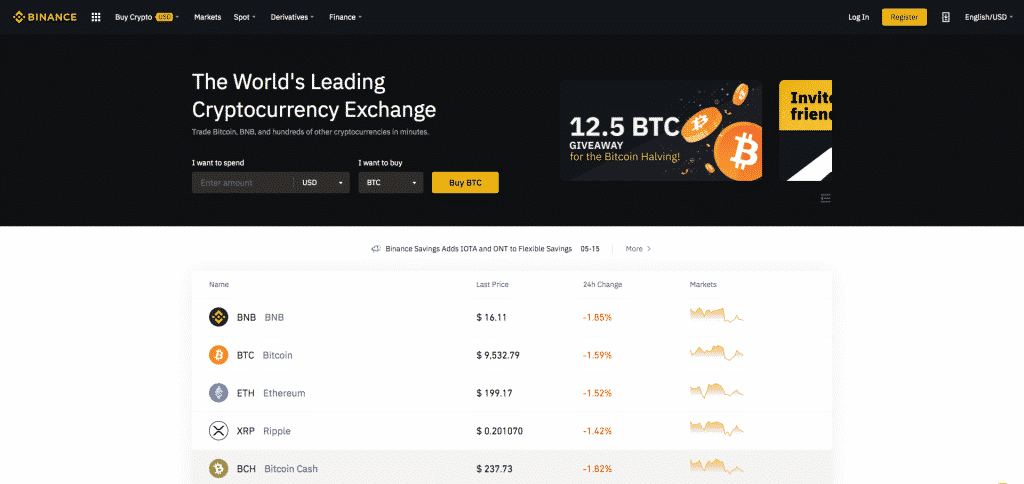 binance crypto exchange with most coins first page