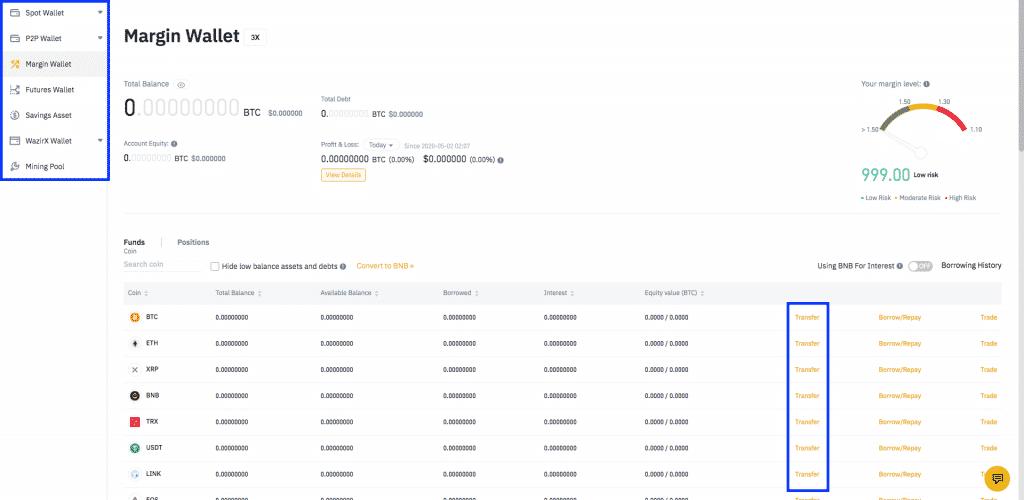 binance leverage crypto wallet screenshot