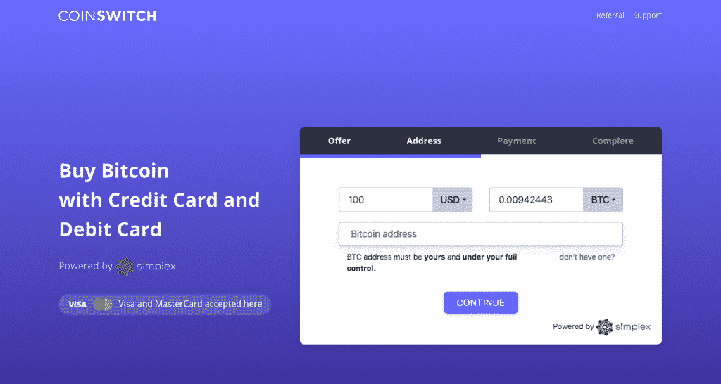 coinswitch credit card payment
