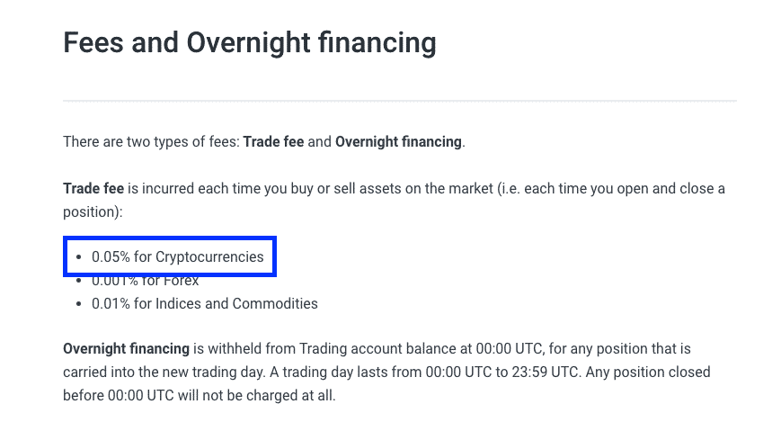 crypto leverage trading fee table prime xbt screenshot