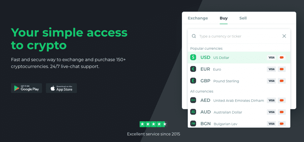 changelly first page fiat currencies