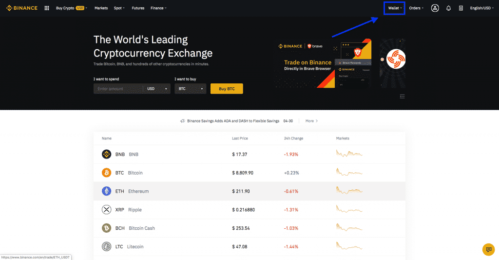 cryptocurrency wallet on binance