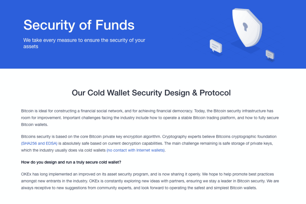 security of funds on Okex