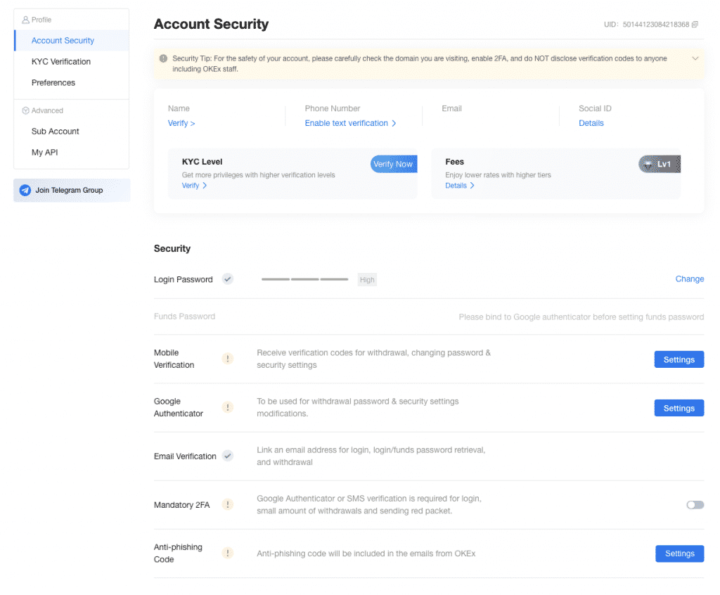 security page on okex