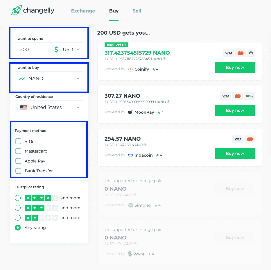 payment selection on changelly