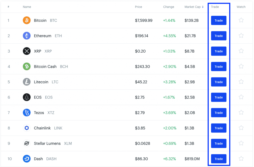 cryptocurrency page on coinbase