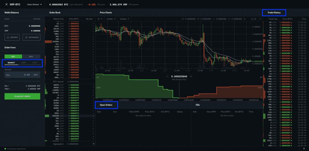 coinbase pro trading interface