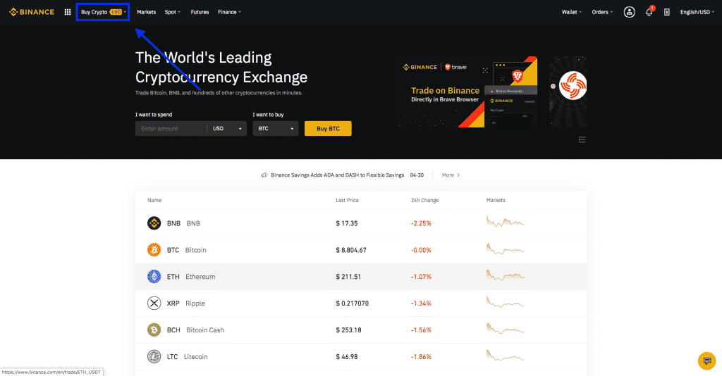 buy crypto on binance