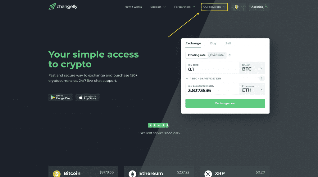 changelly bitcoin broker first page