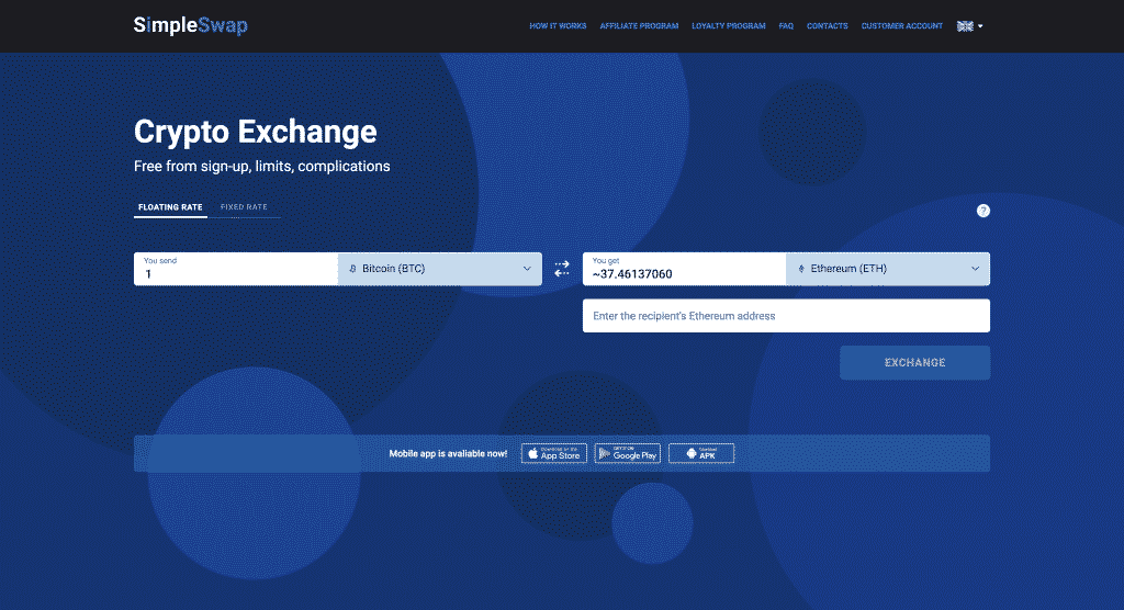 simpleswap altcoin exchange