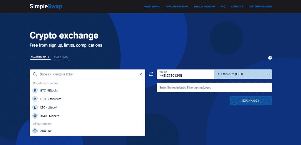 best cryptocurrency broker simpleswap exchange interface