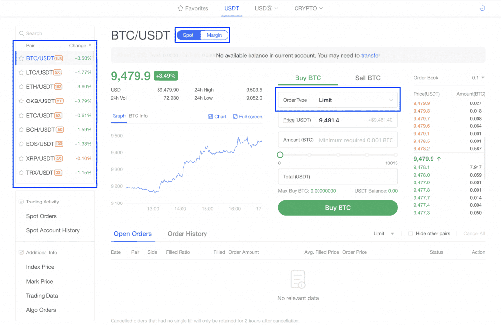okex trade interface