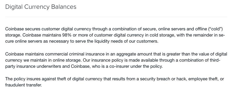 coinbase offline storage