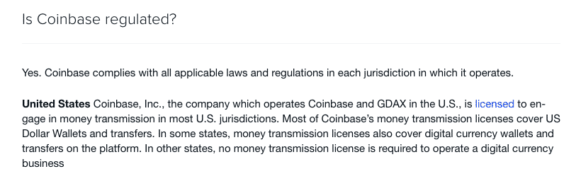 coinbase regulated