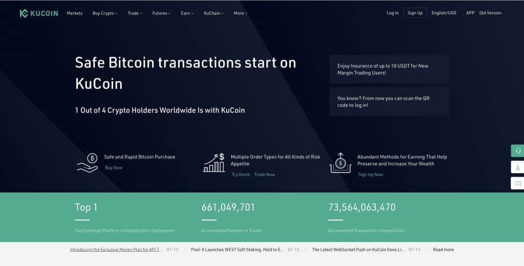 kucoin cryptocurrency exchange first page