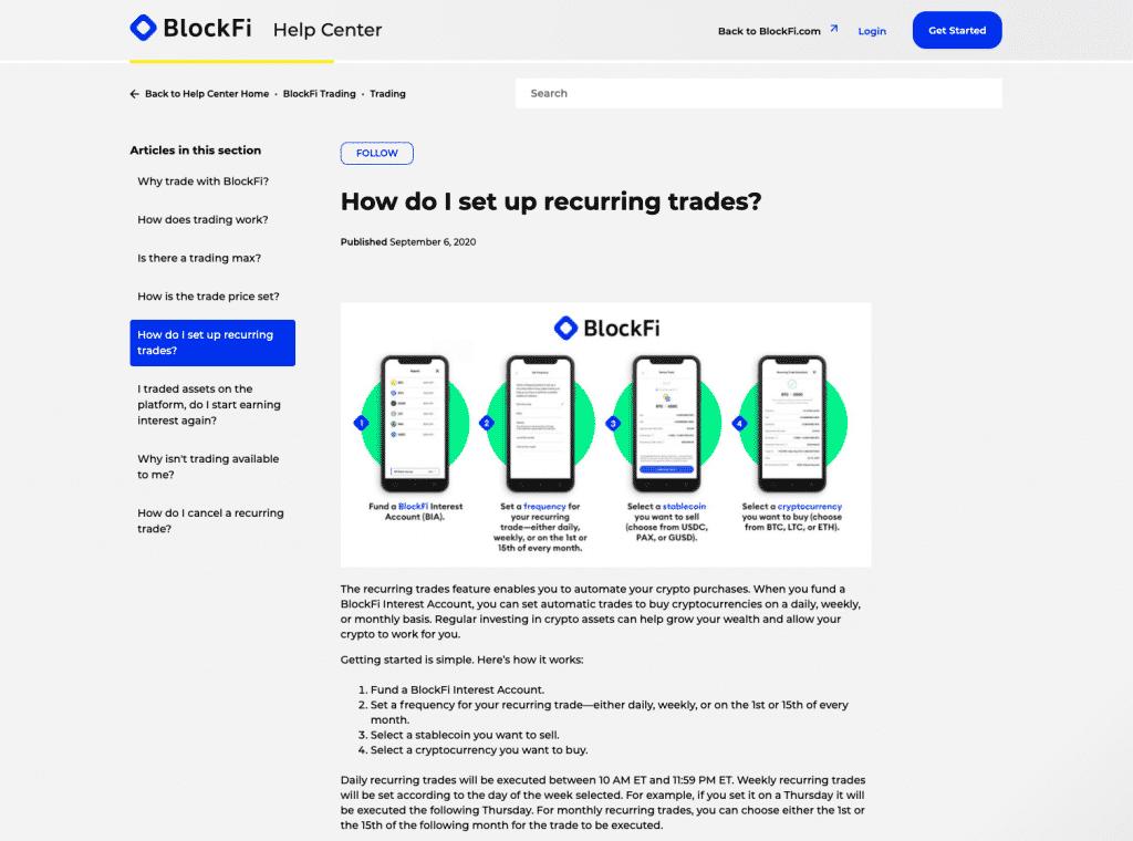 recurring trades on BlockFi
