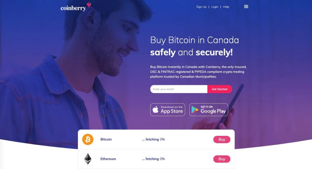 Coinberry home page